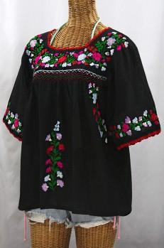"""""""La Marina"""" Embroidered Mexican Peasant Blouse -Black + Bright Multi"""