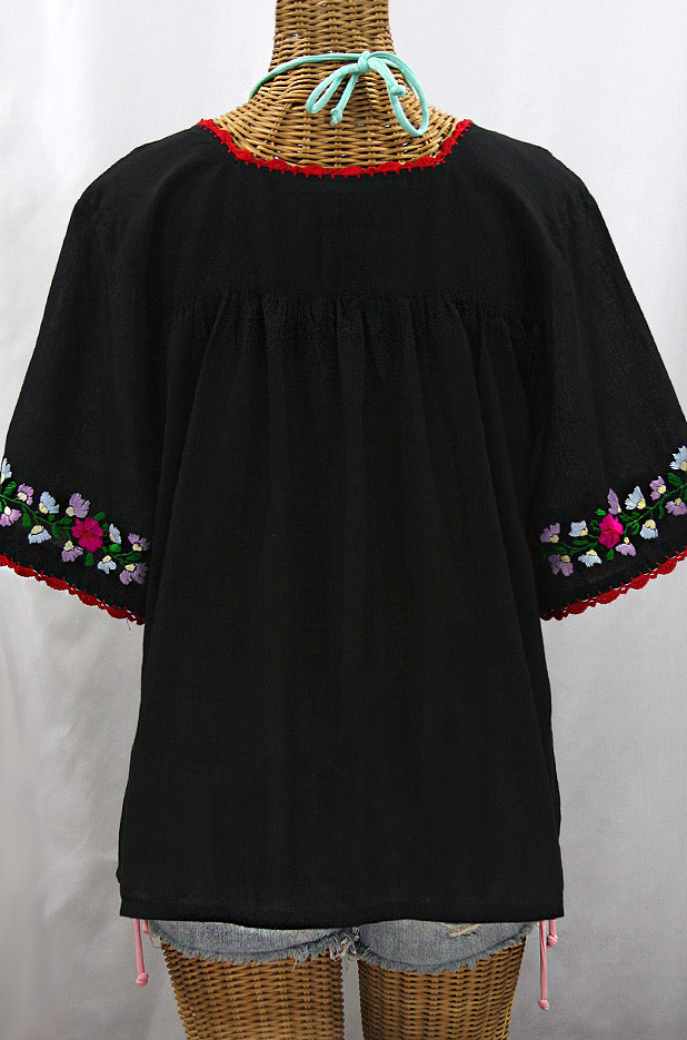 """La Marina"" Embroidered Mexican Peasant Blouse -Black + Bright Multi"