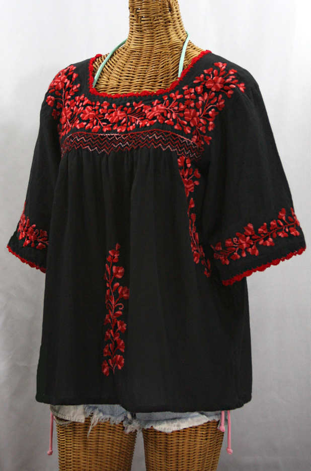 White Peasant Blouse Red Embroidery 55