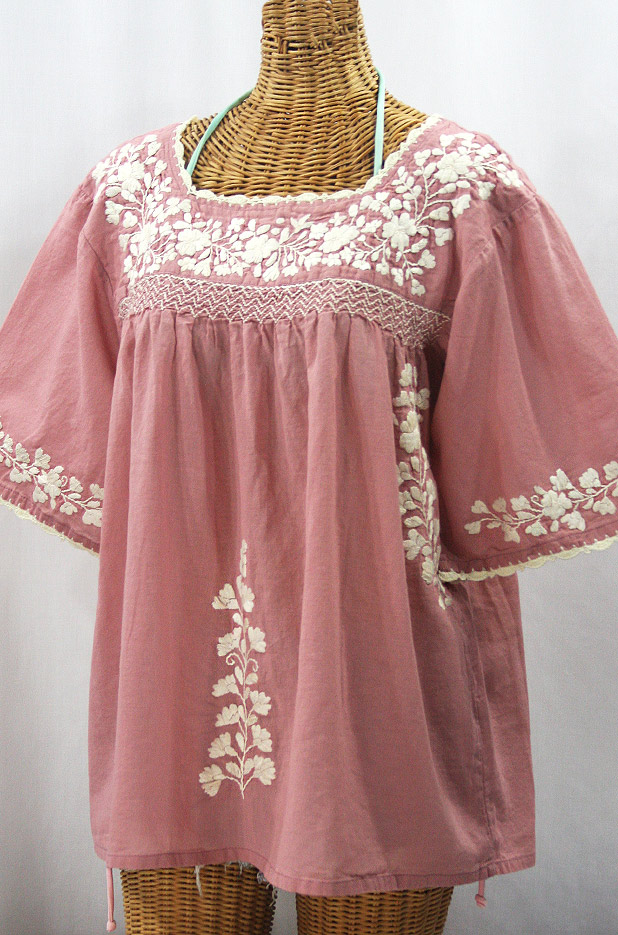 """""""La Marina"""" Embroidered Mexican Style Peasant Top - Dusty Light Pink + Cream"""