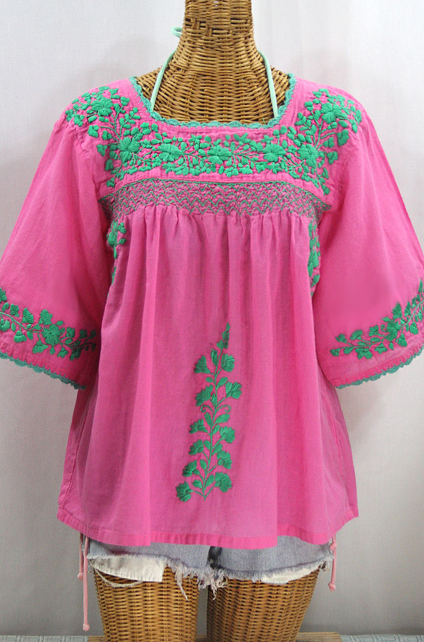 """""""La Marina"""" Embroidered Mexican Peasant Blouse -Pink + Mint"""