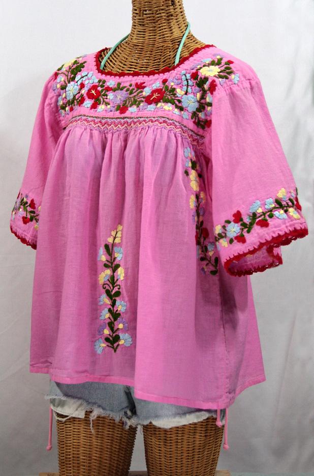"""La Marina"" Embroidered Mexican Peasant Blouse -Bubblegum"