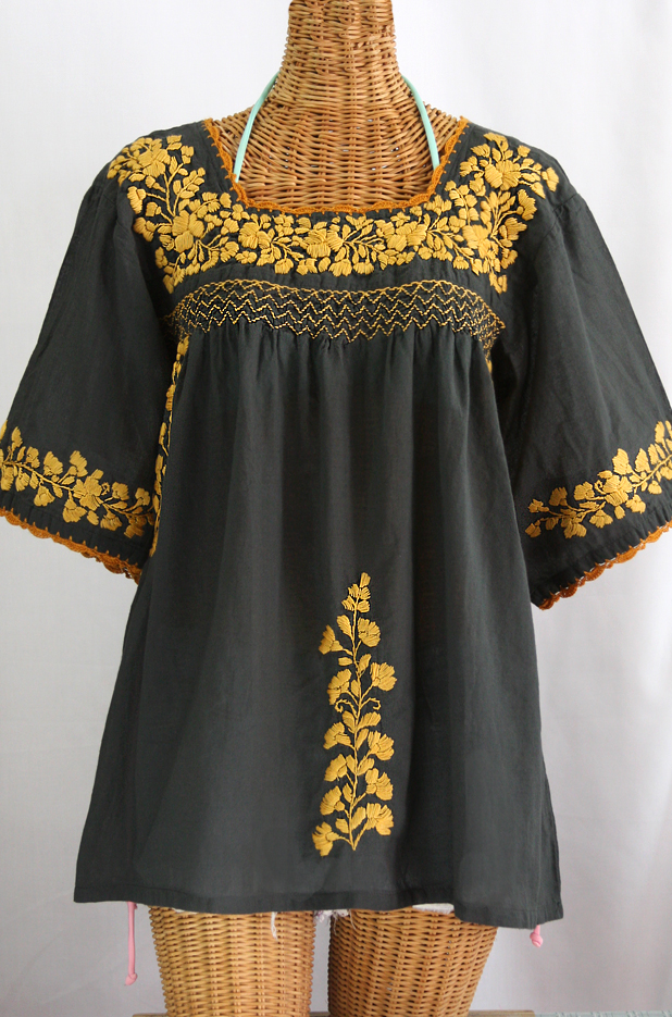 Quot la marina embroidered mexican blouse charcoal