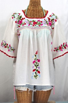 """La Marina"" Mexican Embroidered Peasant Blouse -Classic White"