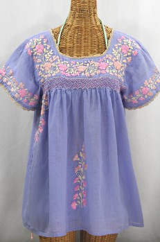 """""""La Marina Corta"""" Embroidered Mexican Peasant Blouse - Periwinkle + Pink Mix"""