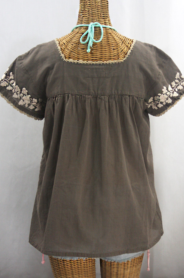 """La Marina Corta"" Embroidered Mexican Peasant Blouse - Fog + Cream"