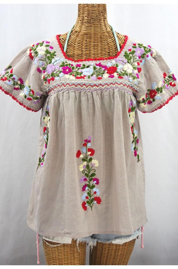 """""""La Marina Corta"""" Embroidered Mexican Peasant Blouse - Greige + Multi"""