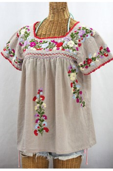 """La Marina Corta"" Embroidered Mexican Peasant Blouse - Greige + Multi"