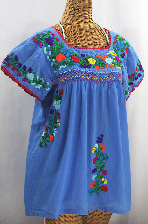 "Final Sale 40% Off -- ""La Marina Corta"" Embroidered Mexican Peasant Blouse - Light Blue + Rainbow"
