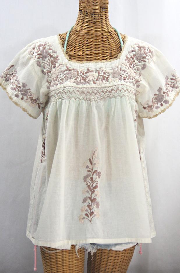 """""""La Marina Corta"""" Embroidered Mexican Peasant Blouse - Off White + Cocoa Mix"""