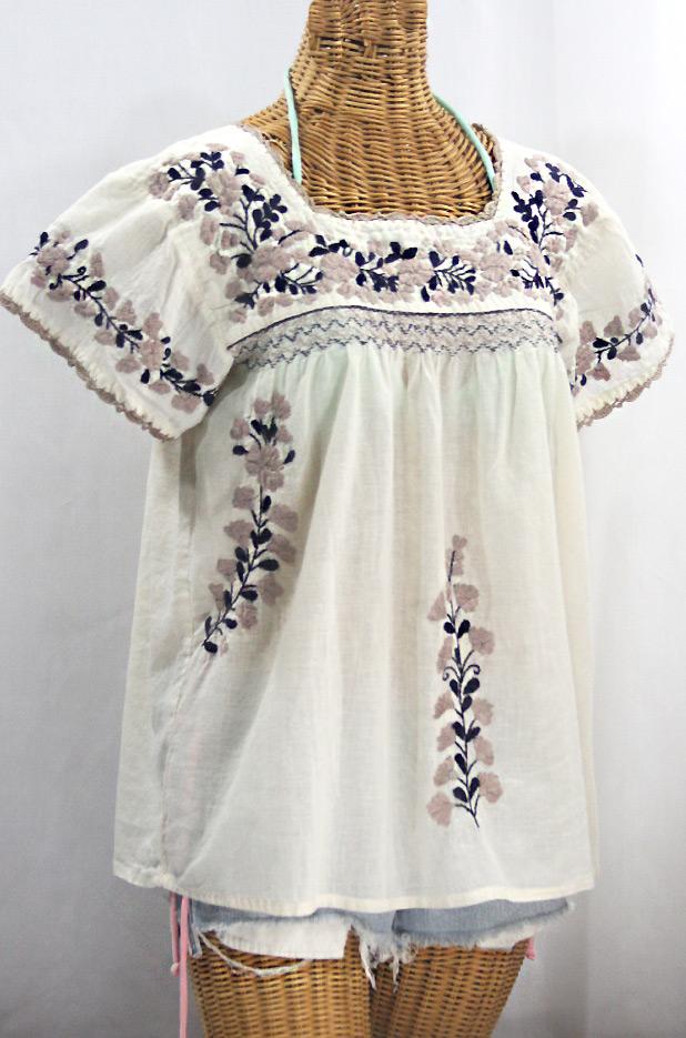 """""""La Marina Corta"""" Embroidered Mexican Peasant Blouse - Off White + Cocoa + Navy"""