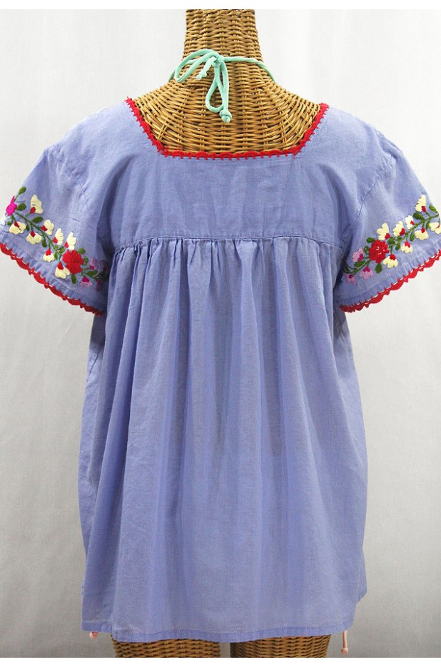 """La Marina Corta"" Embroidered Mexican Peasant Blouse - Periwinkle + Multi"