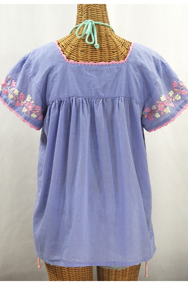"""La Marina Corta"" Embroidered Mexican Peasant Blouse - Periwinkle + Pink Mix"