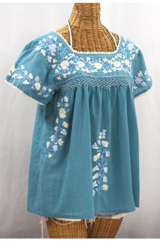 """La Marina Corta"" Embroidered Mexican Peasant Blouse - Pool Blue + Blue Mix"