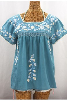 """La Marina Corta"" Embroidered Mexican Peasant Blouse - Pool Blue + Blue Mix"