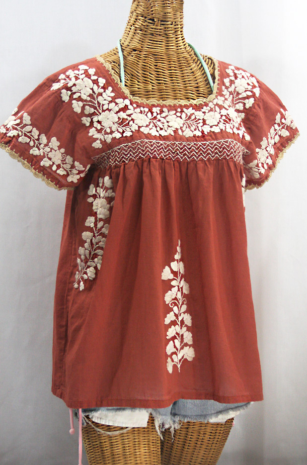"""La Marina Corta"" Embroidered Mexican Peasant Blouse - Terracotta + Cream"