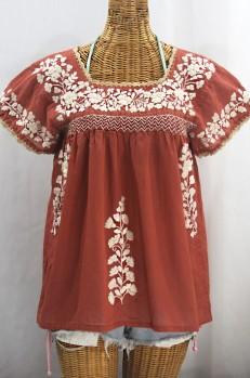 """""""La Marina Corta"""" Embroidered Mexican Peasant Blouse - Terracotta + Cream"""
