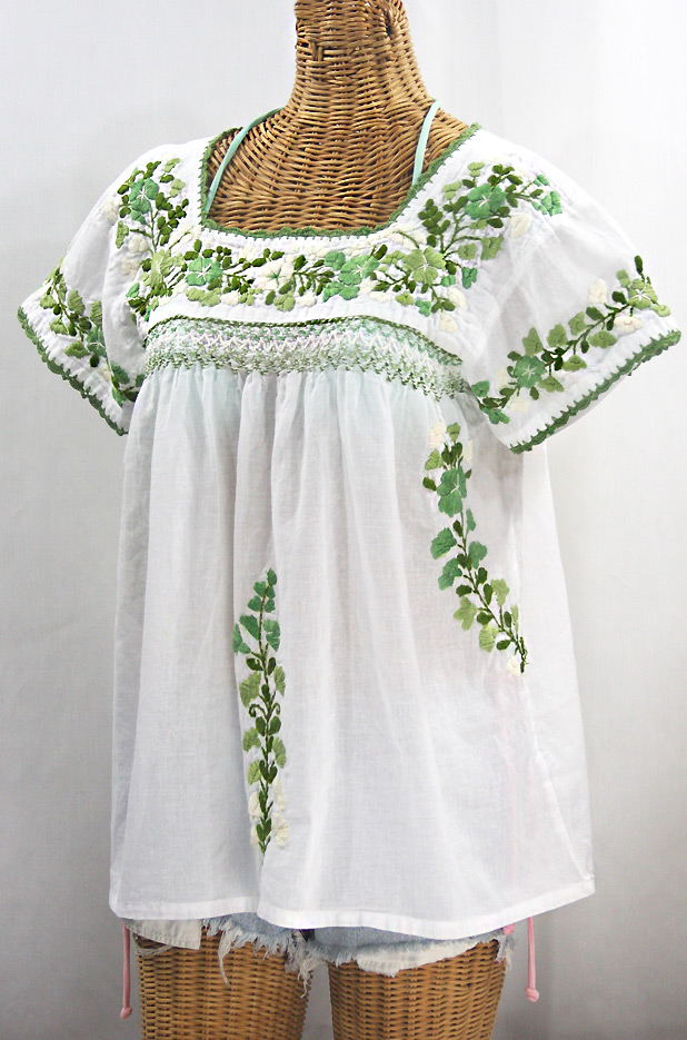 """La Marina Corta"" Embroidered Mexican Peasant Blouse - White + Green Mix"