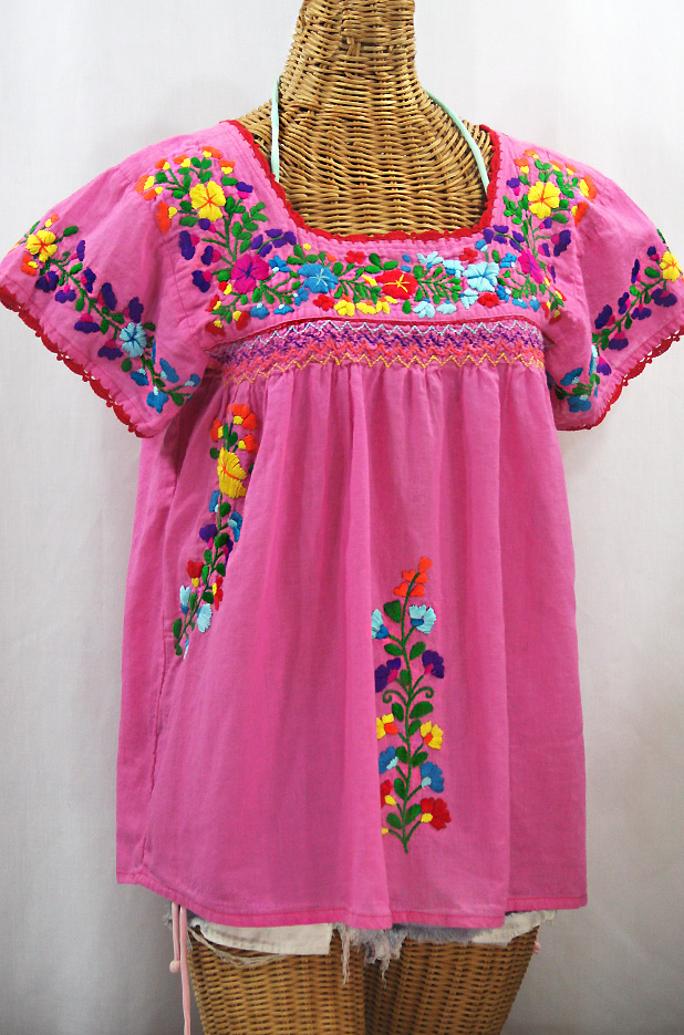 """La Marina Corta"" Embroidered Mexican Peasant Blouse - Bubblegum Pink + Rainbow"
