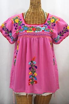 """La Marina Corta"" Embroidered Mexican Peasant Blouse - Bubblegum Pink + Rainbow"