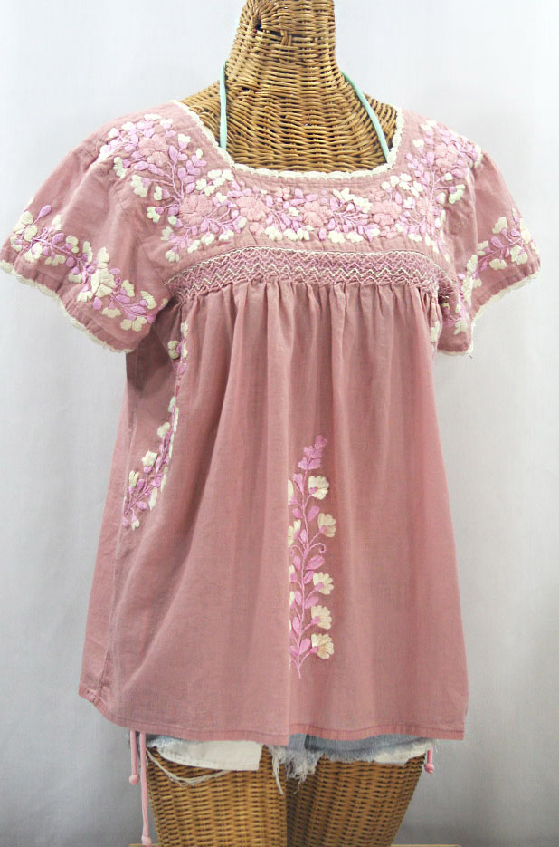 """La Marina Corta"" Embroidered Mexican Peasant Blouse - Dusty Light Pink + Pink Mix"