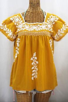 """La Marina Corta"" Embroidered Mexican Peasant Blouse - Honey Gold + White"
