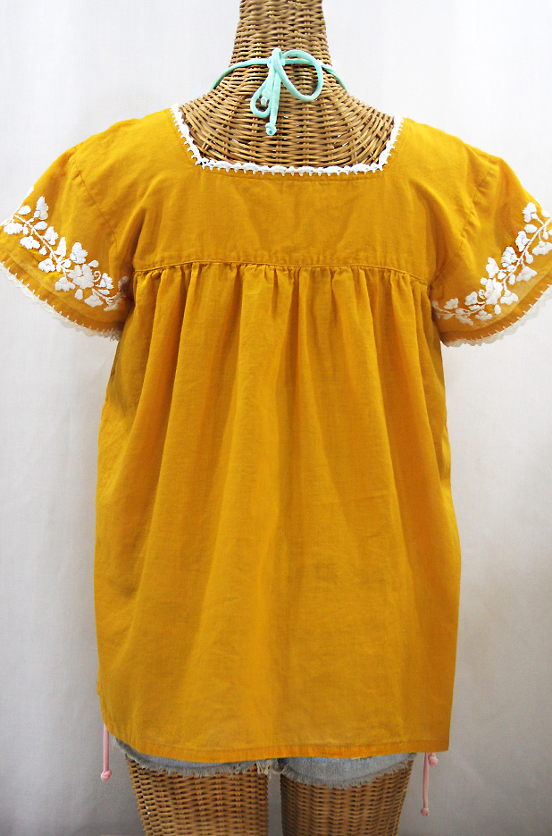 """La Marina Corta"" Embroidered Mexican Peasant Blouse - Honey Gold + White"