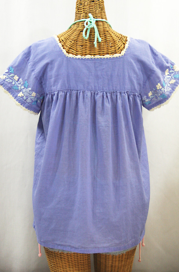 """La Marina Corta"" Embroidered Mexican Peasant Blouse - Periwinkle + Blue Mix"