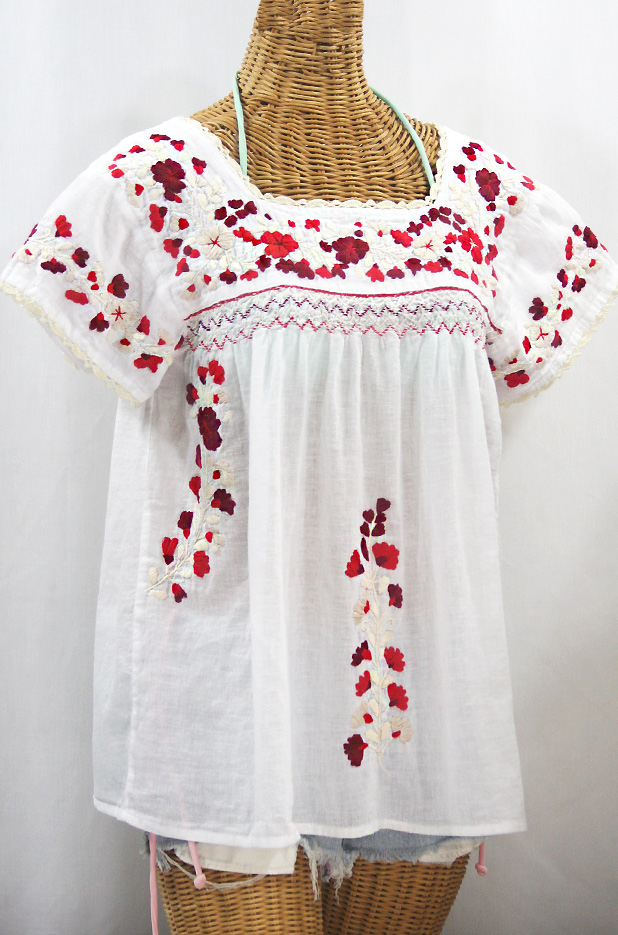 """""""La Marina Corta"""" Embroidered Mexican Peasant Blouse - White + Red Mix + Cream Crochet"""
