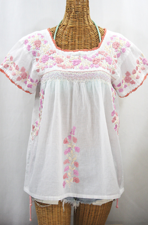 """La Marina Corta"" Embroidered Mexican Peasant Blouse - White + Sunset Mix + Coral Crochet"