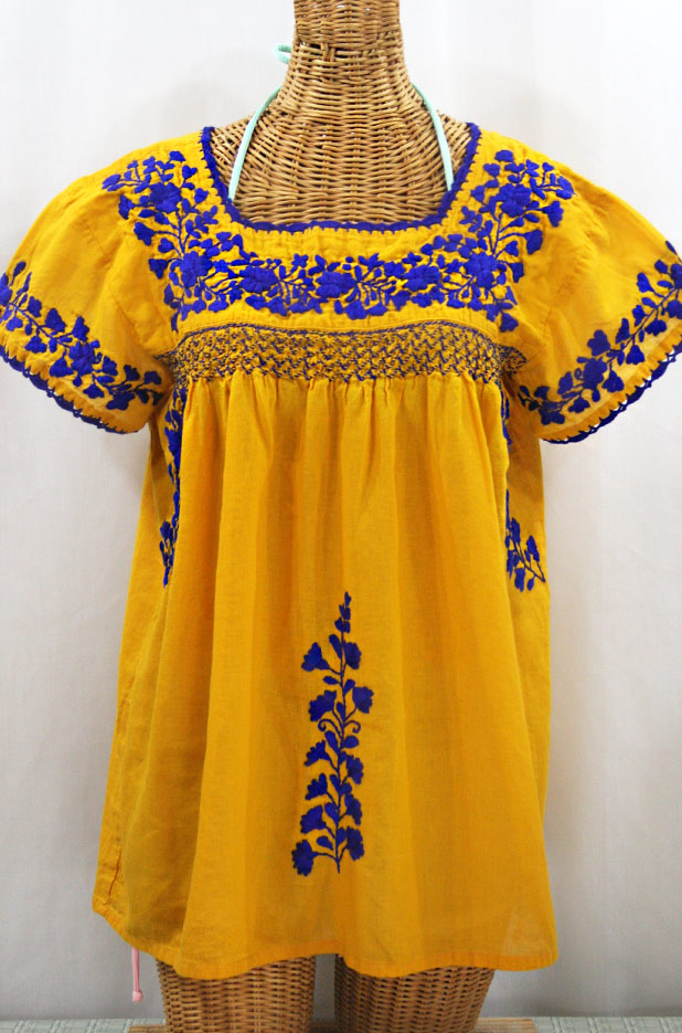 """55% Off Final Sale """"La Marina Corta"""" Embroidered Mexican Peasant Blouse - Golden Yellow + Blue"""