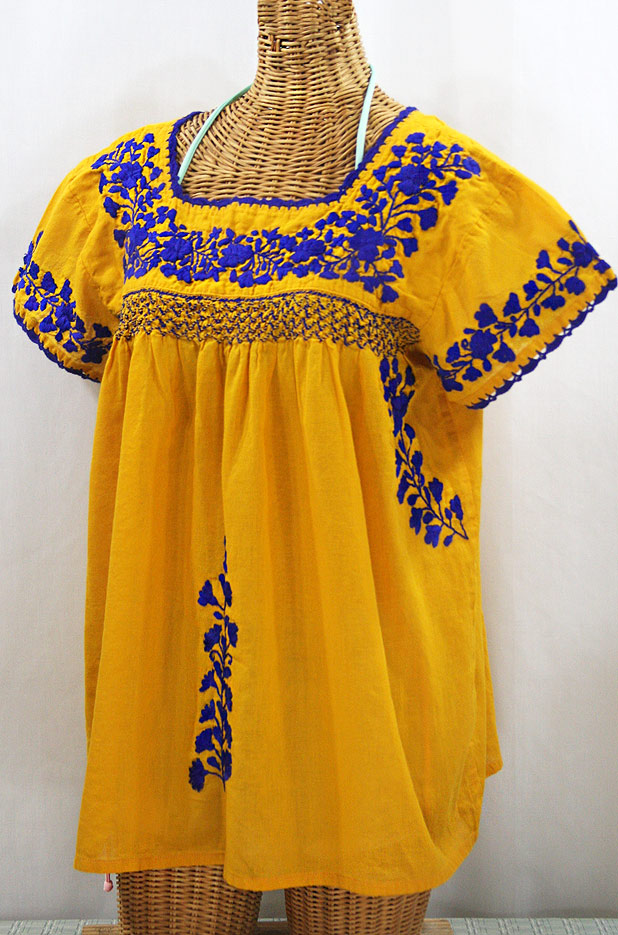 """La Marina Corta"" Embroidered Mexican Peasant Blouse - Golden Yellow + Blue"