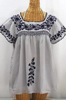 """La Marina Corta"" Embroidered Mexican Peasant Blouse - Grey + Navy"