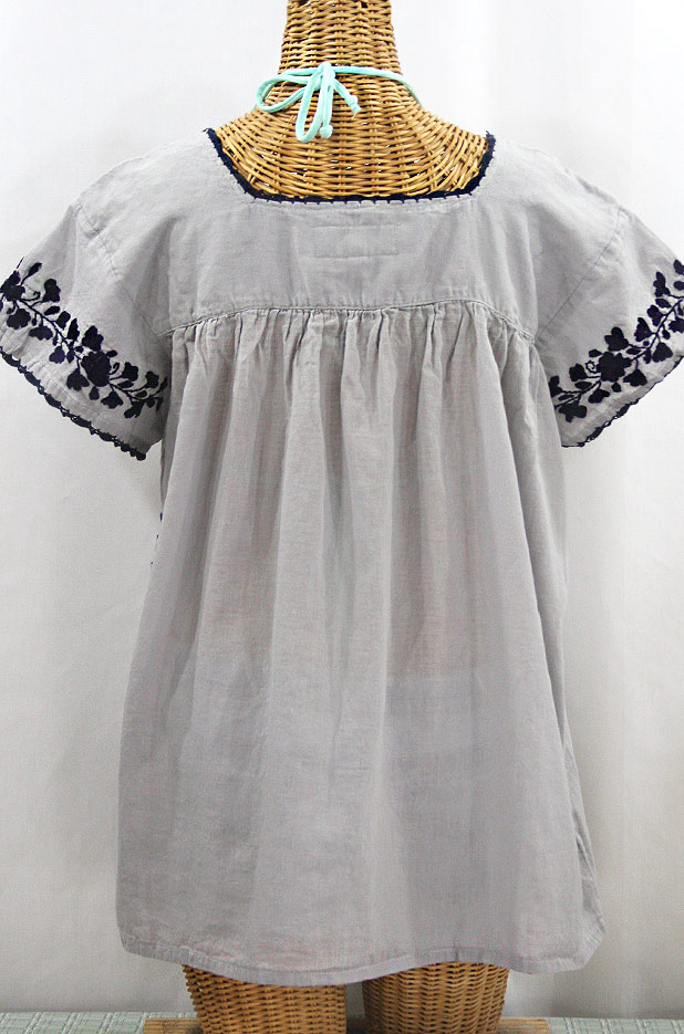 """La Marina Corta"" Embroidered Mexican Peasant Blouse - Grey + Navy"