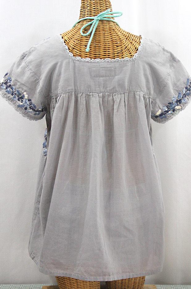 """""""La Marina Corta"""" Embroidered Mexican Peasant Blouse - Shades of Grey"""