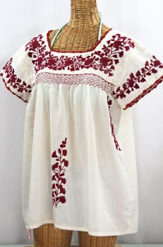 """La Marina Corta"" Embroidered Mexican Peasant Blouse - Off White + Burgundy"