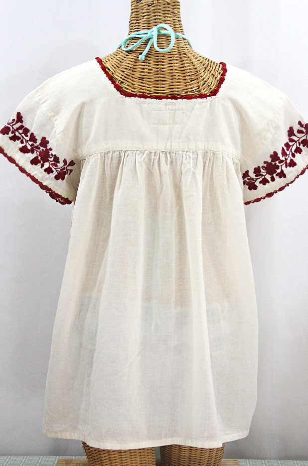 """La Marina Corta"" Embroidered Mexican Peasant Blouse - Off White + Burgundy"