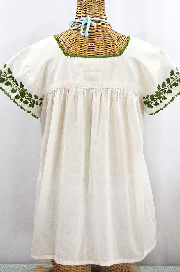 """La Marina Corta"" Embroidered Mexican Peasant Blouse - Off White + Green"