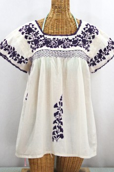 """La Marina Corta"" Embroidered Mexican Peasant Blouse - Off White + Navy"