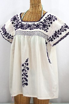 """La Marina Corta"" Embroidered Mexican Peasant Blouse - Off White + Navy"