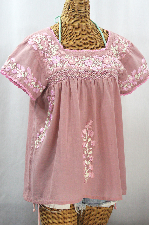 """""""La Marina Corta"""" Embroidered Mexican Peasant Blouse - Dusty Light Pink + Pink Mix"""