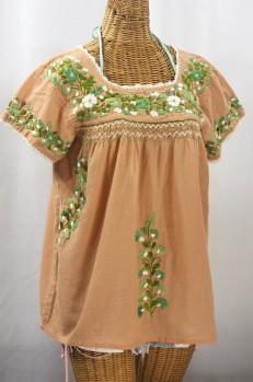 """La Marina Corta"" Embroidered Mexican Peasant Blouse - Dusty Melon + Green Mix + Crean Crochet"