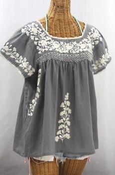 """La Marina Corta"" Embroidered Mexican Peasant Blouse - Medium Grey + Cream"