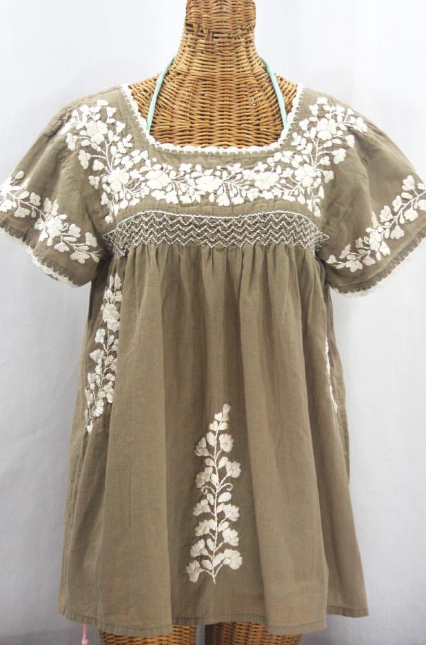 """""""La Marina Corta"""" Embroidered Mexican Peasant Blouse - Khaki + Cream"""