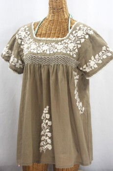 """La Marina Corta"" Embroidered Mexican Peasant Blouse - Khaki + Cream"