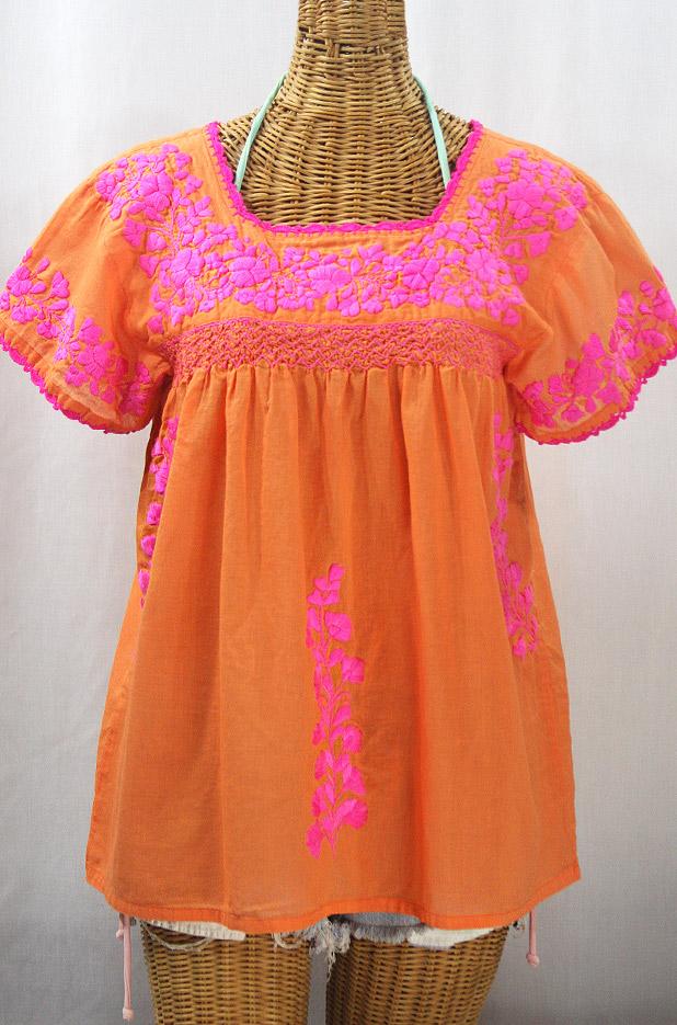 """""""La Marina Corta"""" Embroidered Mexican Peasant Blouse - Orange Cream + Neon Pink"""