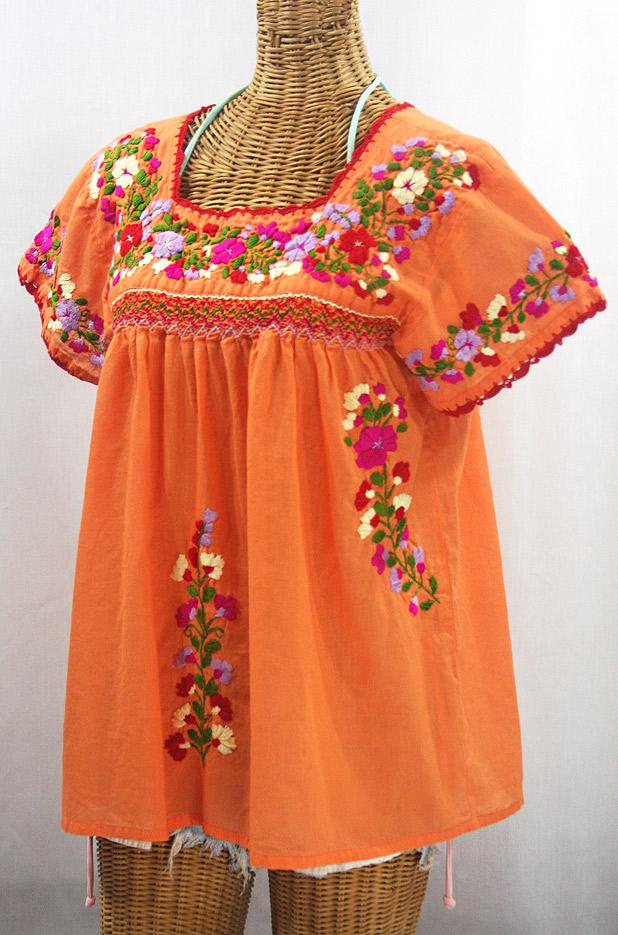 """""""La Marina Corta"""" Embroidered Mexican Peasant Blouse - Orange Cream + Multi"""