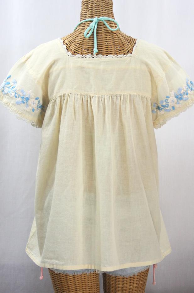 """""""La Marina Corta"""" Embroidered Mexican Peasant Blouse - Pale Yellow + Blue Multi"""