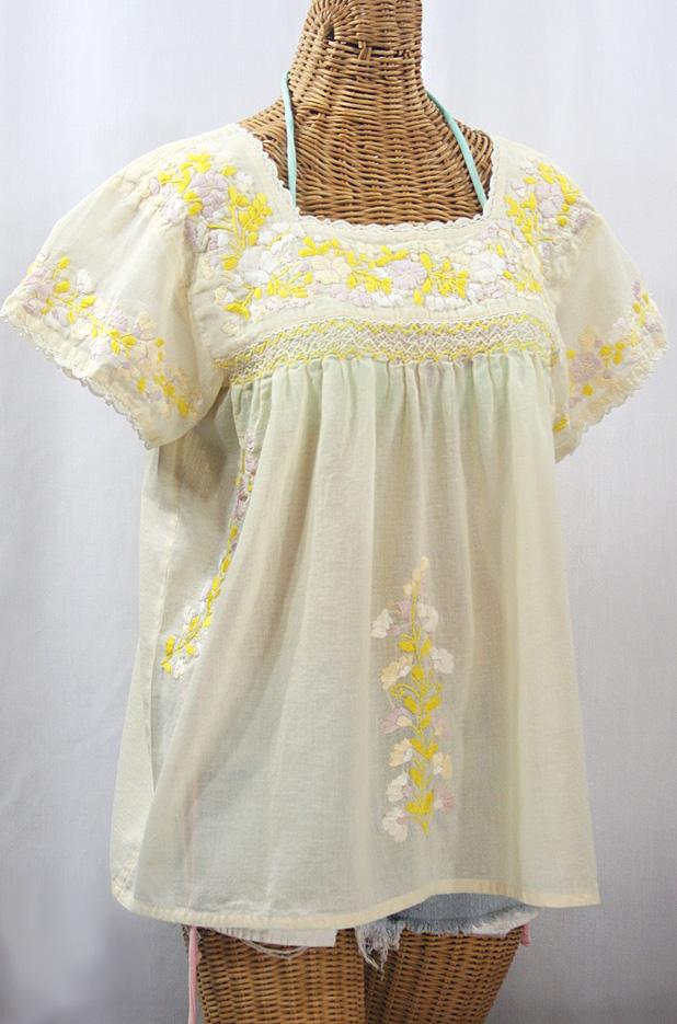 """La Marina Corta"" Embroidered Mexican Peasant Blouse - Pale Yellow + Yellow Mix"