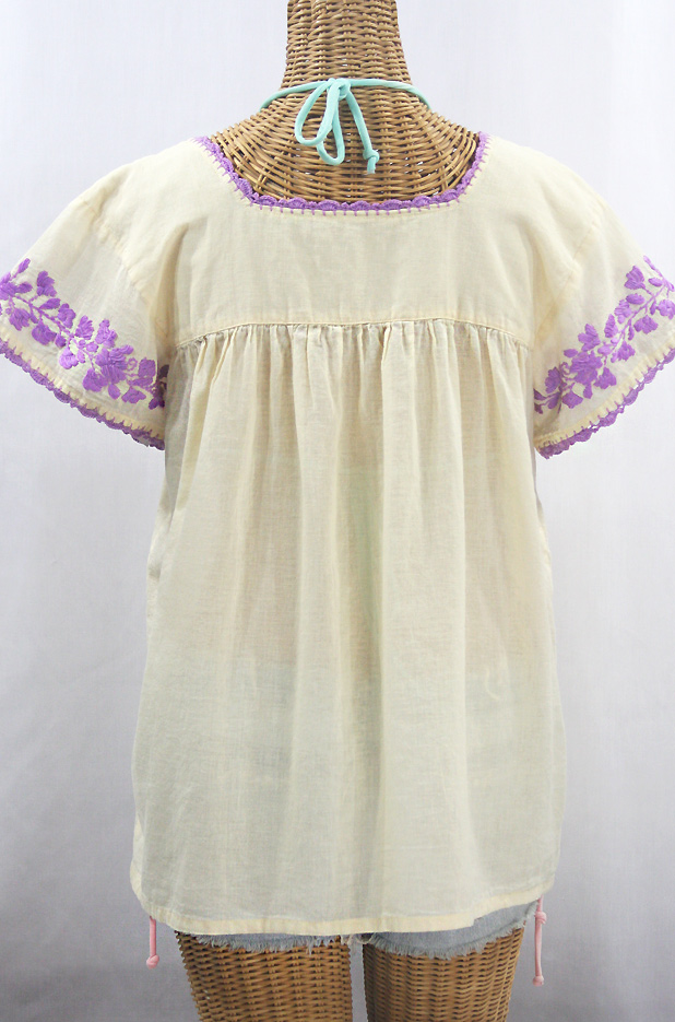 """La Marina Corta"" Embroidered Mexican Peasant Blouse - Pale Yellow + Purple"